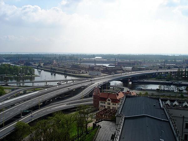 Szczecin. Odrą wzdłuż Wałów Chrobrego