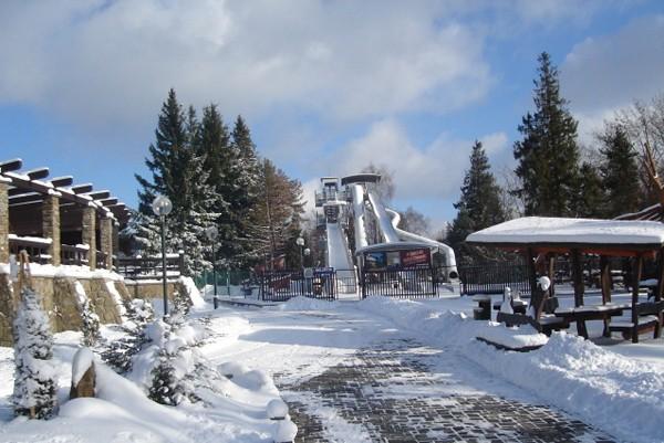 Krynica Zimowa penetracja Góry Parkowej