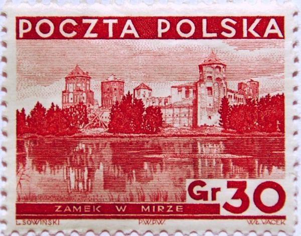 Mir Zamek na znaczku i w oryginale