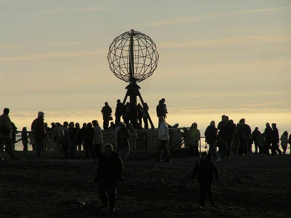 Nordkapp Słońce o północy na krańcu Europy
