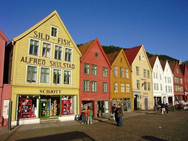 Bergen Drewniane domy i ulice Bryggen