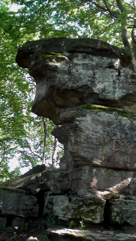 Jaworzyna Krynicka. Diabelski Kamień leży przy szlaku