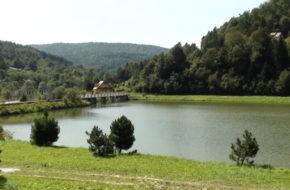 Krempna Wieś nad zalewem na Wisłoce