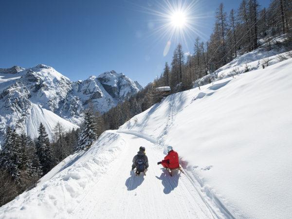 Stubai. Sanki w alpejskiej dolinie